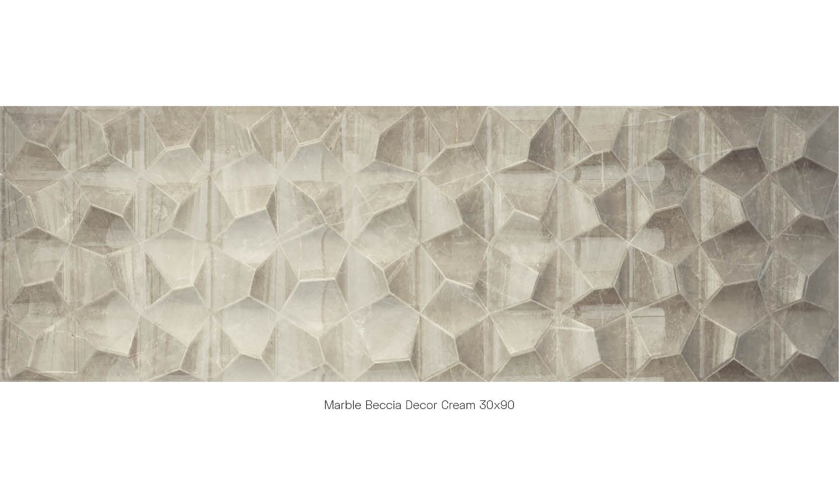 Marble beccia decor cream 30 x 90
